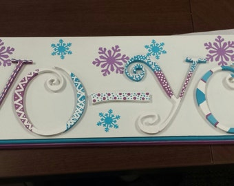 Frozen wood personalized name plaque kids nursey wall sign