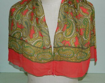 """60s Sheer Echo Silk Gossamer Scarf As Is Paisley Print Scarf 38 by 15"""" Mad Men"""