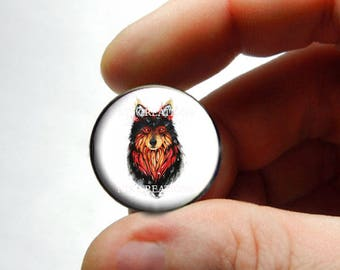 Fire Spirit Wolf Cabochon for Jewelry and Pendant Making
