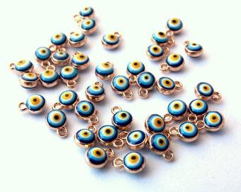 5 pcs Evil Eye, Blue Evil Eye Charm, Round Evil Eye, Blue Evil Eye, Enamel Evil Eye Charm, Mini Evil Eye Charm, Small Round Evil Eye Pendant