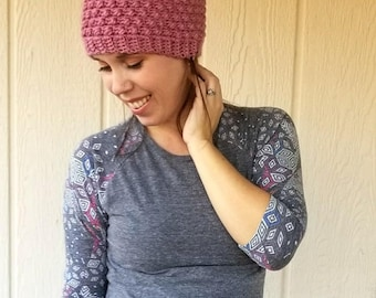 Messy Bun Beanie Crochet PATTERN - Messy Bun Hat - Ponytail Beanie - Ponytail Hat - Crochet Hat - Crochet Toque