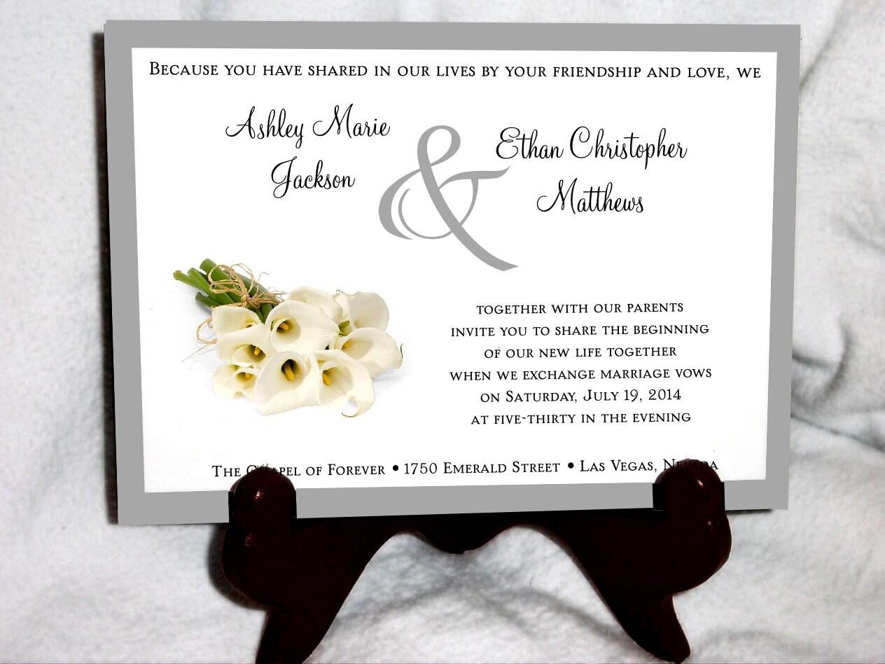 100 Calla Lily Wedding Invitations, RSVP\'s, Reception Insert ...