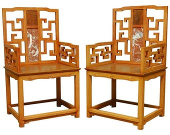 Pair of Chinese Ming Style Armchairs with Dali Marble Inset