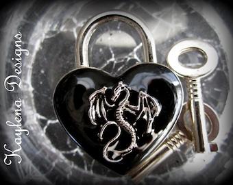 Dragon, Heart Lock, BDSM Lock, lock and key, locking Jewelry