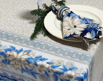 Christmas Tablecloth, Holiday Tablecloth, Rectangular or Round Christmas Tablecloth, Gold Blue and Silver Tablecloth