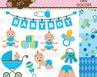40% Off! Little Baby Boy Digital Clip Art Instant Download