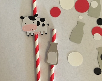 8 Barnyard Party Paper Straws, Farm Party Straws, Cow Paper Straws, Country Western Party Decor, Red Striped Paper Straws