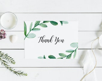 Greenery Thank You Cards Minimalist Simple Wedding Bridal Shower Party Green Leaves Rustic Boho Printable or Printed