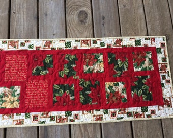 "Christmas Table Runner, Holiday, Red and Green, 16""x36"""