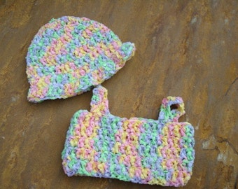 Baby Boutique - Hand-Stitched Astro Dyed Baby Girls Halter Top and Hat Set - Morning Glory 329
