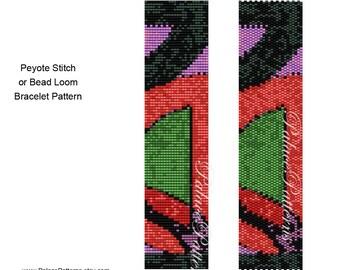 Peyote Stitch Bracelet Pattern - Pattern 24 - Bead Loom Bracelet Pattern 24, Delica Bead Bracelet Pattern