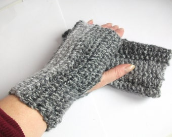 Basic Design Fingerless Mittens, Hand warmers Crocheted in Greys. .Accessories.Men, Women, Winter Warmers,
