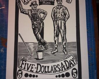 Cumberland Blues Linocut- Grateful Dead Art