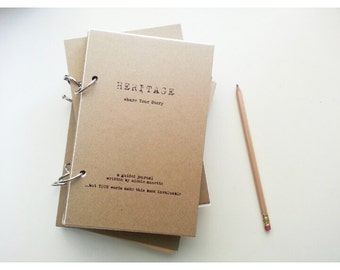 "ON SALE-The ""HERITAGE"" Guided Journal by Journal Junky-Share your Story-Handmade-Recycled Paper-Unique Gift"
