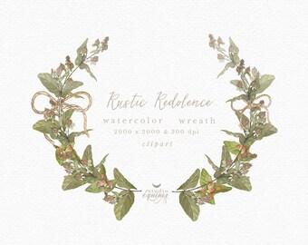 Rustic Berries Wreath, Berries Wreath Clipart, Rustic Berries Branch, Botanical Wreath, Botanical Clipart, Wedding Invitation, Blog Logo