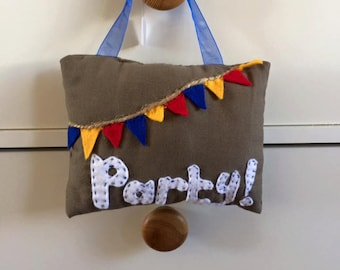 homemade hanging PARTY cushion