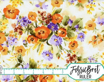 ORANGE & PURPLE FLORAL Fabric by the Yard Fat Quarter Watercolor Flower Fabric Quilting Fabric Apparel Fabric 100% Cotton Fabric w9-13