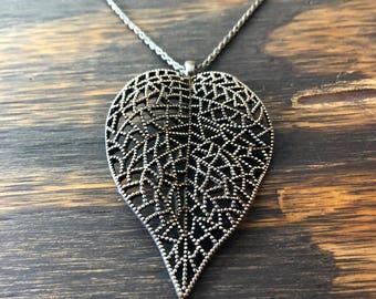 VTG Vintage 90er Jahre filigrane Halskette Natur rustikal Boho böhmischen natürlichen Filligree komplizierte verzierten zarte Blattsilber
