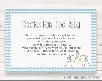 Baby Shower Invitation Insert - Books For Baby - Baby Shower Inserts - Printable Invitation Insert - Books For The Baby Card - Blue Elephant