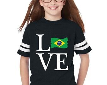 Love Brazil  Youth Football Fine Jersey Tee