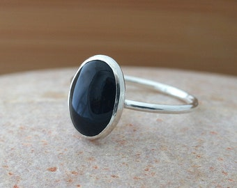 Oval Black Onyx Ring, 10x14 mm, Sterling Silver, Size 2 to 15, Onyx Stacking Ring, Stacker Ring, Stackable Ring, Womens Jewelry, Black Ring