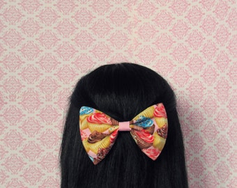 Pink Cupcake Hair Bow - French Barrette, Unique Print Hair Bow, Kitschy Hair Bow, Cupcake Print Dessert Print