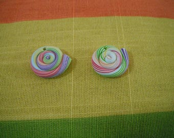 2 beads lollipop Fimo polymer clay - food jewelry