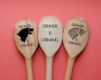 Game of Thrones Spoons Set of 3 Kitchen Utensil Dinner is Coming Direwolf Personalized engraved spoon Boyfriend Birthday Gift Fathers day