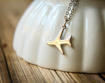 Airplane Silhouette Necklace, Available in Silver and Gold