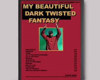 Kanye West My Beautiful Dark Twisted Fantasy Custom Music Poster // A3 Album Art / Poster Design