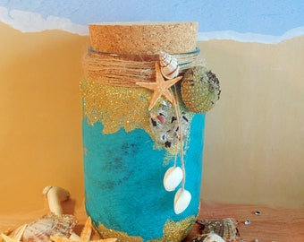 Mermaid Jar, glitter, candle jar, mason jar, home decoration, night light candles
