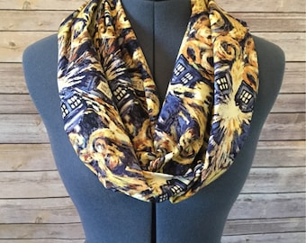 Exploding Tardis Infinity Scarf / Timey Whimey / Fandom / Pop Culture / Geek / Tardis / Police Box / Made from Doctor Who fabric / Gift