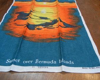 Sunset over Bermuda Islands vintage tea towel - Irish linen - Ulster made - dish towel - unusual
