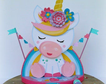 Cute Unicorn Centerpiece, Baby Shower Decor, Unicorn Birthday Centerpiece, Magical Unicorn Centerpiece, Unicorn Party Decor
