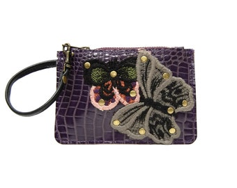 Garden butterfly leather wallet // Purple Croc embossed coin purse with wristlet