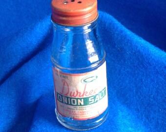 Vintage Durkees Onion Salt Bottle - Glass Bottle with Shaker style lid - Durkee Famous Foods - Made in Elmhurst, N.Y.