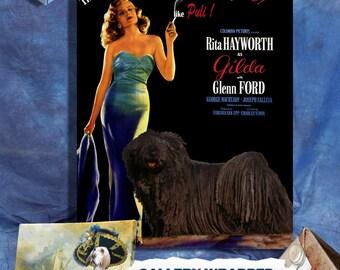 Gilda Movie Poster Black Puli Dog Art Best Selling home decor wall art print Vintage Movie Poster star Rita Hayworth custom pet portrait