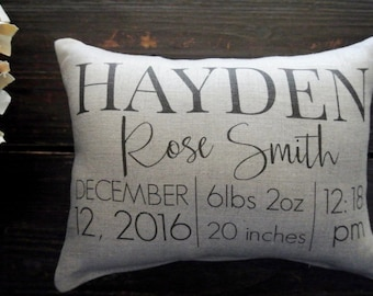 Birth Announcement Pillow, Custom Birth Stat Pillow, Custom Birth Pillow, Personalized Pillow, Baby Shower Gift, Personalized Baby pillow,