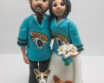 Sports Fans Wedding Cake topper,Custom wedding cake topper, personalized cake topper, Bride and groom cake topper, Mr and Mrs cake topper