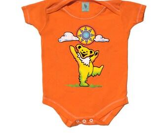 Grateful Dead Baby -Sunny Bear Baby One Piece Bodysuit/ Dancing Bear / Sun/ Dead and Company/ Infant/ Onesie/creeper/romper