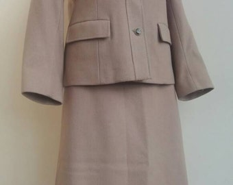 Ladies 40s Two Piece Wool Suit, Jacket and Matching A Line Skirt By Seigal. UK 8