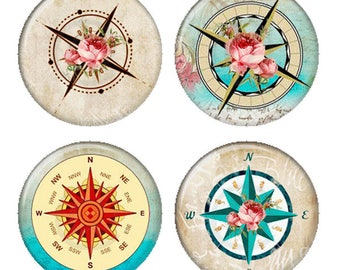 Floral Compass Rose Shabby Rose Magnets or Pinback Buttons or Flatback Medallions