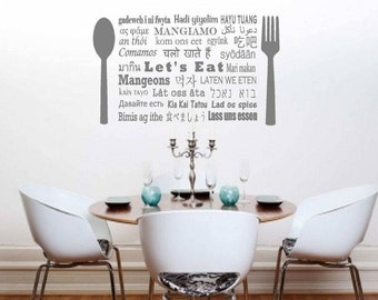 Marvelous Letu0027s Eat In Different Languages, Eat Wall Decals, Letu0027s Eat Decals,  Kitchen Sign