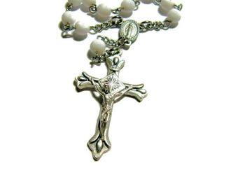 One Decade Rosary, Tenner, Single Decade Rosary, Pocket Rosary, Catholic Beads, White Rosary, Prayer Beads