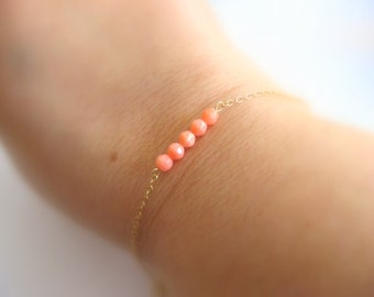 Dainty Coral Bracelet - Little 14K Gold Filled Bracelet with Sea Bamboo Coral Pink Beads - charm bracelet - layering bracelet -gift under 20