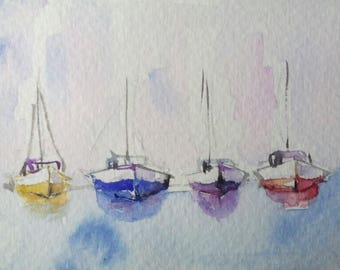 original watercolor painting ACEO boats, 2.5x3.5 inches