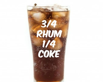 Decal for glass of rum recipe rum and Coke, repositionable sticker cocktail, rum