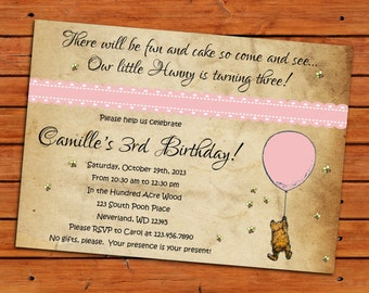 Classic Winnie the Pooh Digital Printable 5x7 Invitation - Many different color choices