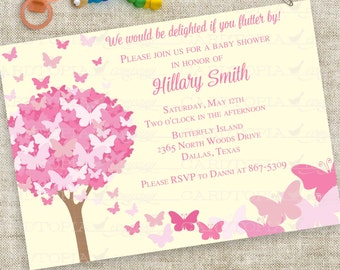Pink Yellow Butterfly Baby Shower Invitation Personalized Custom Digital Printable File with Professional Printing Option