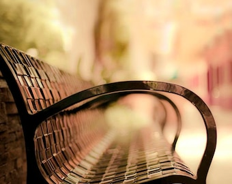 City Bench, Travel Photography, Pastel, Pink, Peach, Mint, Yellow, Black, Bench Photos, Office Decor